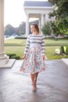 Modest Sidewalk Stroll Dress (Gray Florals)