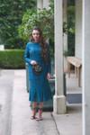 Teal Vintage Sweet Peony Dress