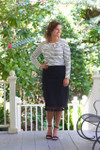 Modest pencil skirt with tassel hem