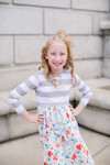 Little Sidewalk Stroll Dress (Gray Florals)