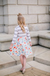 Little Sidewalk Stroll Dress (Gray Florals)