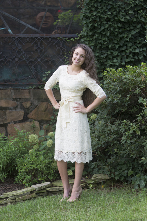 Cream A Night in Paris Dress is the perfect modest bridesmaids dress.