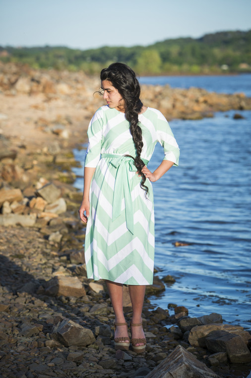 Mint Chevron Swimdress