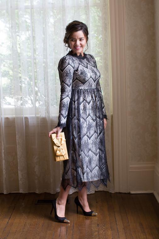 Vintage Ever-So-Lovely Dress (Cream/Black)