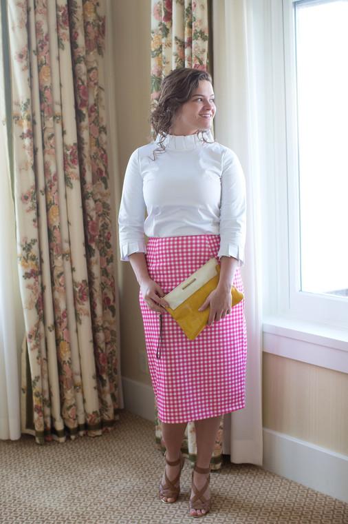 Modest Gingham Pencil Skirt