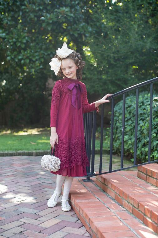 Modest Little English Rosemary Dress (Cranberry)