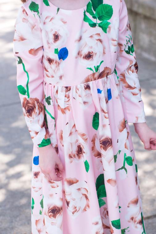 Modest Little Delicate Rose Garden Dress