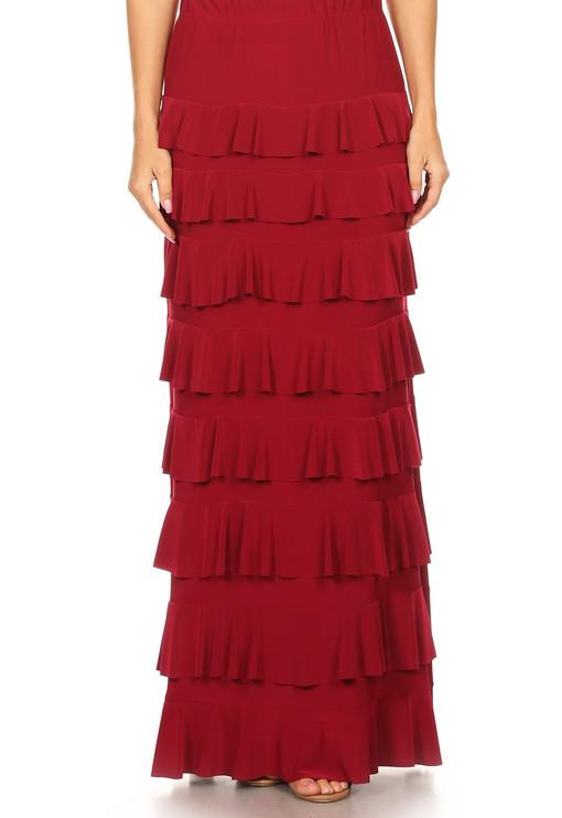 Lovely Ruffle Skirt (Burgundy)