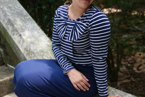 Navy Modest Striped Bow Top