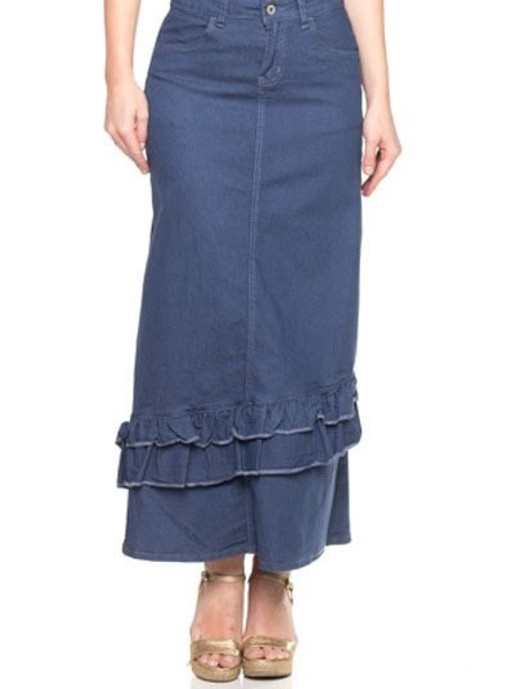 Darling Ruffle Denim Skirt