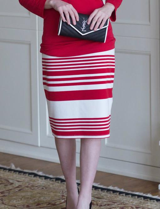 Striped Basic Pencil Skirt (4 Colors)