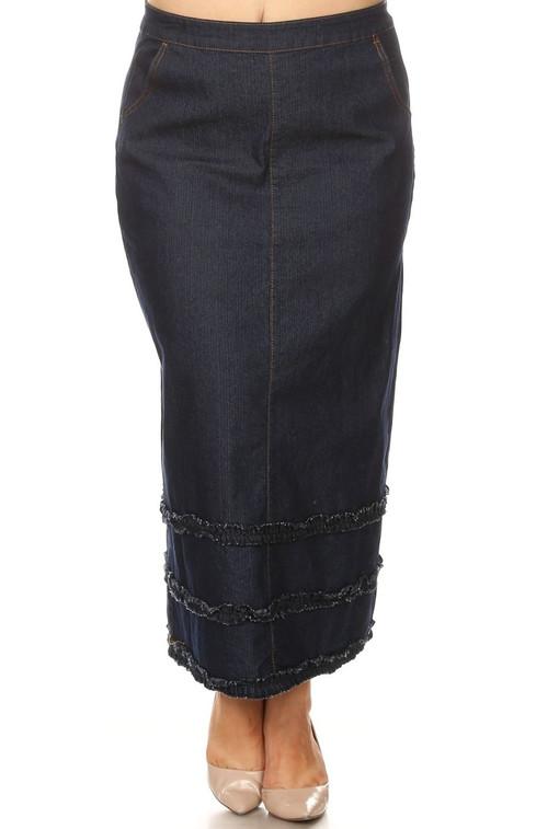 Triple Ruffle Denim Skirt