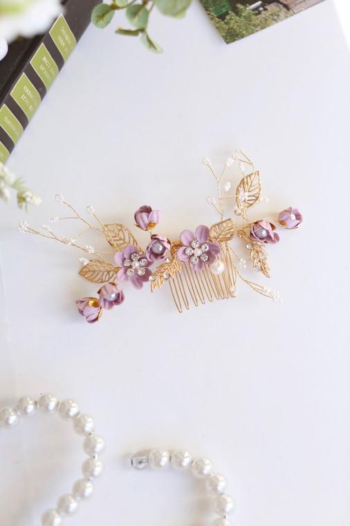 Lavender Vintage Blooms Comb