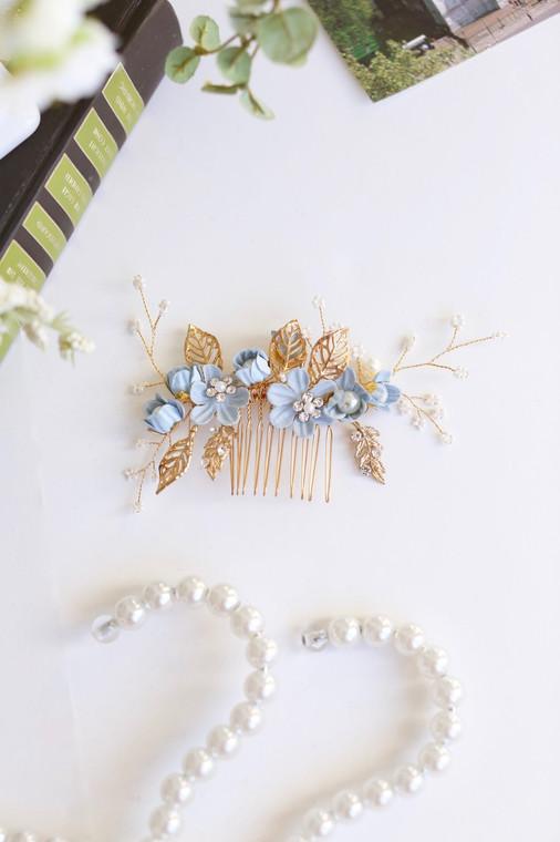 Blue Vintage Blooms Comb