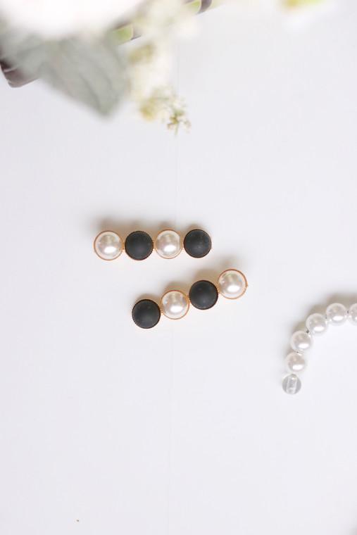 Vintage Pearl Hair Pin (Black)