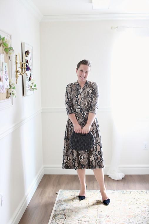 Sophisticated in Snakeskin Dress