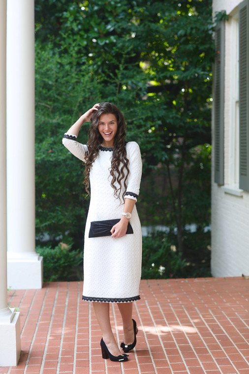 White Dress with Lace Trim