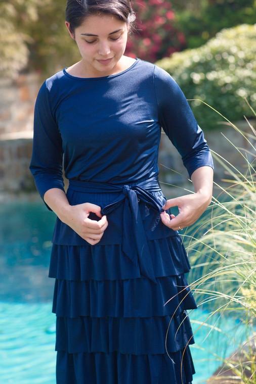 Navy Ruffle Swim Skirt