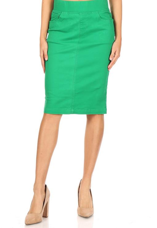 Kelly Green Denim Skirt