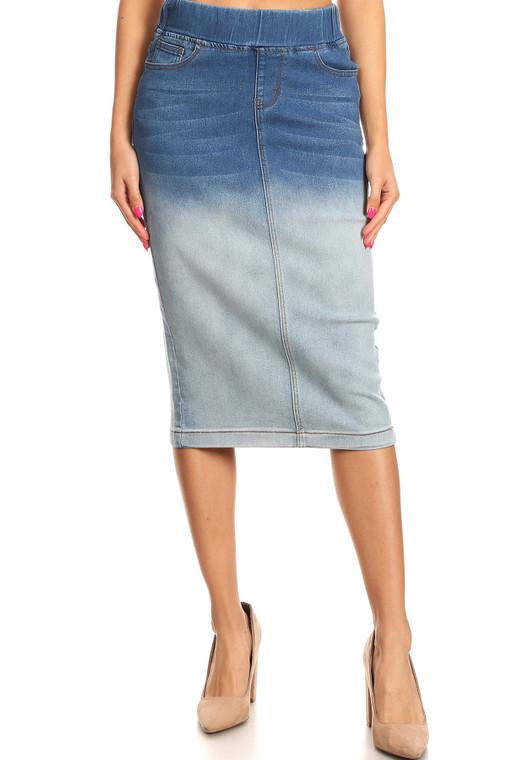 Ombre Denim Skirt