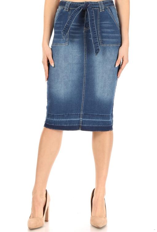 Bow-utiful Denim Skirt - Knee Length