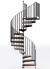 in stock code compliant black spiral staircase with wood treads and aluminum handrail