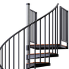 in stock steel spiral stair with vinyl handrail and wood treads