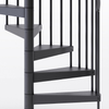 all black code steel spiral staircase with adjustable height