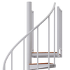 white steel with wood steps spiral staircase with adjustable height