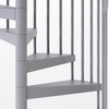 all gray steel spiral staircase with adjustable height