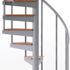 gray aluminum handrail spiral staircase kit with wood treads