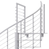 modern white steel code spiral staircase with wedge platform