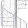modern line rail on all steel code compliant white spiral staircase