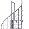 modern line rail on all steel gray spiral staircase