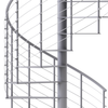 modern line rail on all steel code compliant gray spiral staircase