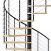 code black steel spiral staircase kit with laminate wood treads and line rail
