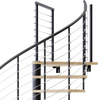 black steel code compliant spiral staircase with laminate wood treads with wedge platform