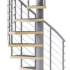 gray steel spiral staircase with laminate wood treads and anti slip tape