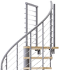 gray steel spiral staircase with laminate wood treads with wedge platform