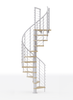 White steel spiral staircase with laminate wood treads