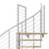white code steel spiral staircase with laminate wood treads with wedge platform
