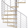 code compliant white steel spiral staircase kit with laminate wood treads and line rail