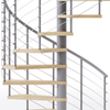 gray code steel spiral staircase kit with laminate wood treads and line rail