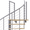 code compliant gray steel spiral staircase with laminate wood treads with wedge platform