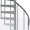 galvanized outdoor spiral staircase with vinyl handrail