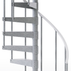 diamond plate outdoor spiral staircase with aluminum handrail