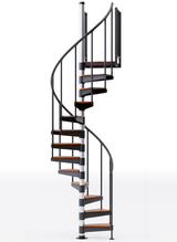 in stock black primed spiral staircase with wood treads and vinyl handrail