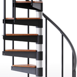 solid wood treads on in stock spiral stair
