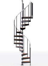 in stock black primed spiral staircase with wood treads and aluminum handrail
