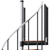 in stock black primed spiral stair platform with wood treads and aluminum handrail